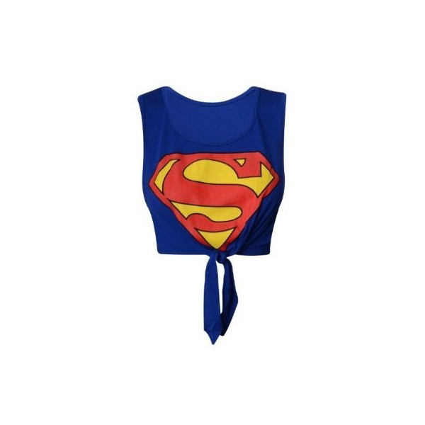 Superman knot crop top