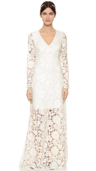 gown long lace white dress