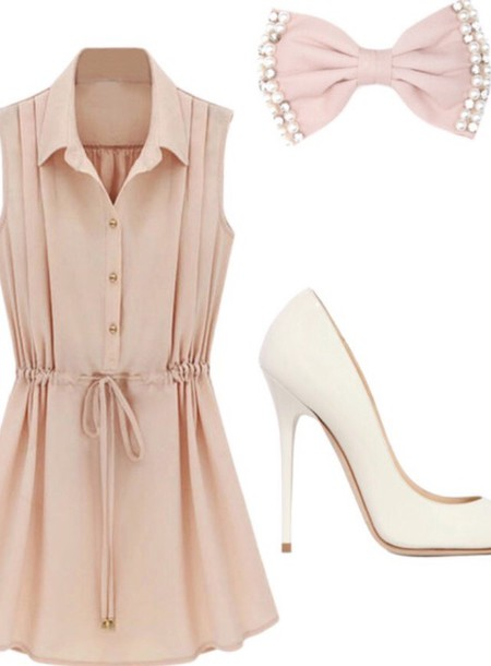 dress pink dress bow dress shoes