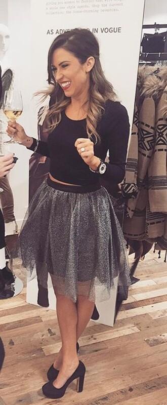 skirt bachelorette grey metallic