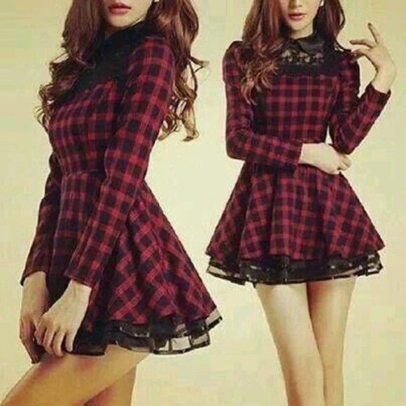 lace dress tartan dress red dress flannel