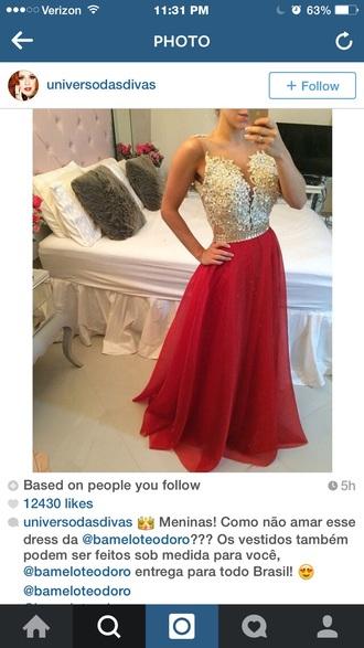 dress red skirt pearl prom dress formal dress elegant dress