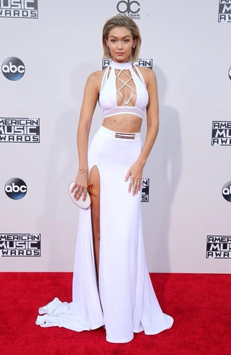 skirt maxi skirt white tumblr crop tops two piece dress set cut out crop top gigi hadid