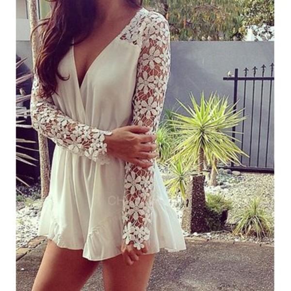 white romper floral romper lace romper long sleeves long sleeve romper romper