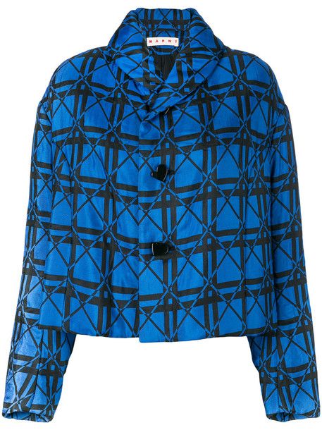 jacket cropped jacket cropped women geometric blue