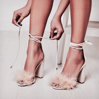 shoes pink heels white faux fur cream love strappy heels fashion