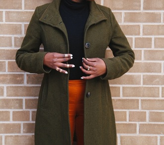 jacket trench coat coat fall outfits winter outfits green jacket