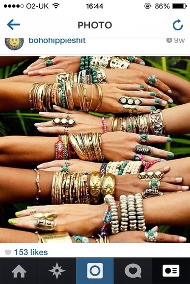 jewels rings bracelets summer necklace so many indie follow note like jewel bracelet ring boho bohemian wave blonde tanned tan