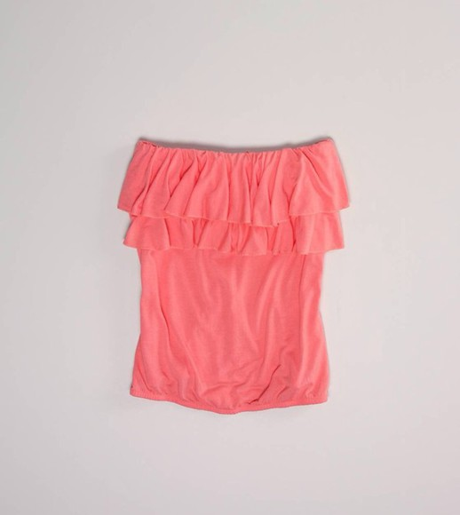tube top shirt pink strapless ruffle ruffles ruffled pretty sweetheart