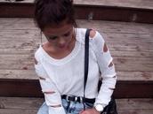 sweater,white sweater,slit,arm slits,bag