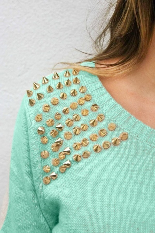 sweater knitwear studs gold studs white sweater mint gold studded shoulder teal light blue gold pretty jumper cozy tumblr turqouise style stud