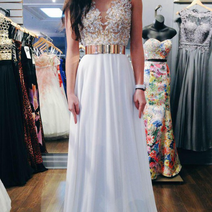 white dress dress prom dress lace dress gold belt