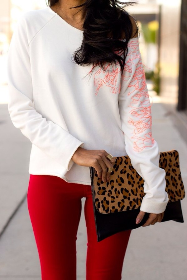 sweater bottom leopard print bag