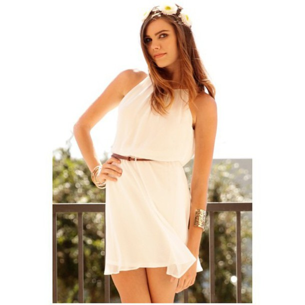 Dress white white dress sleeveless pleaded fit and flare