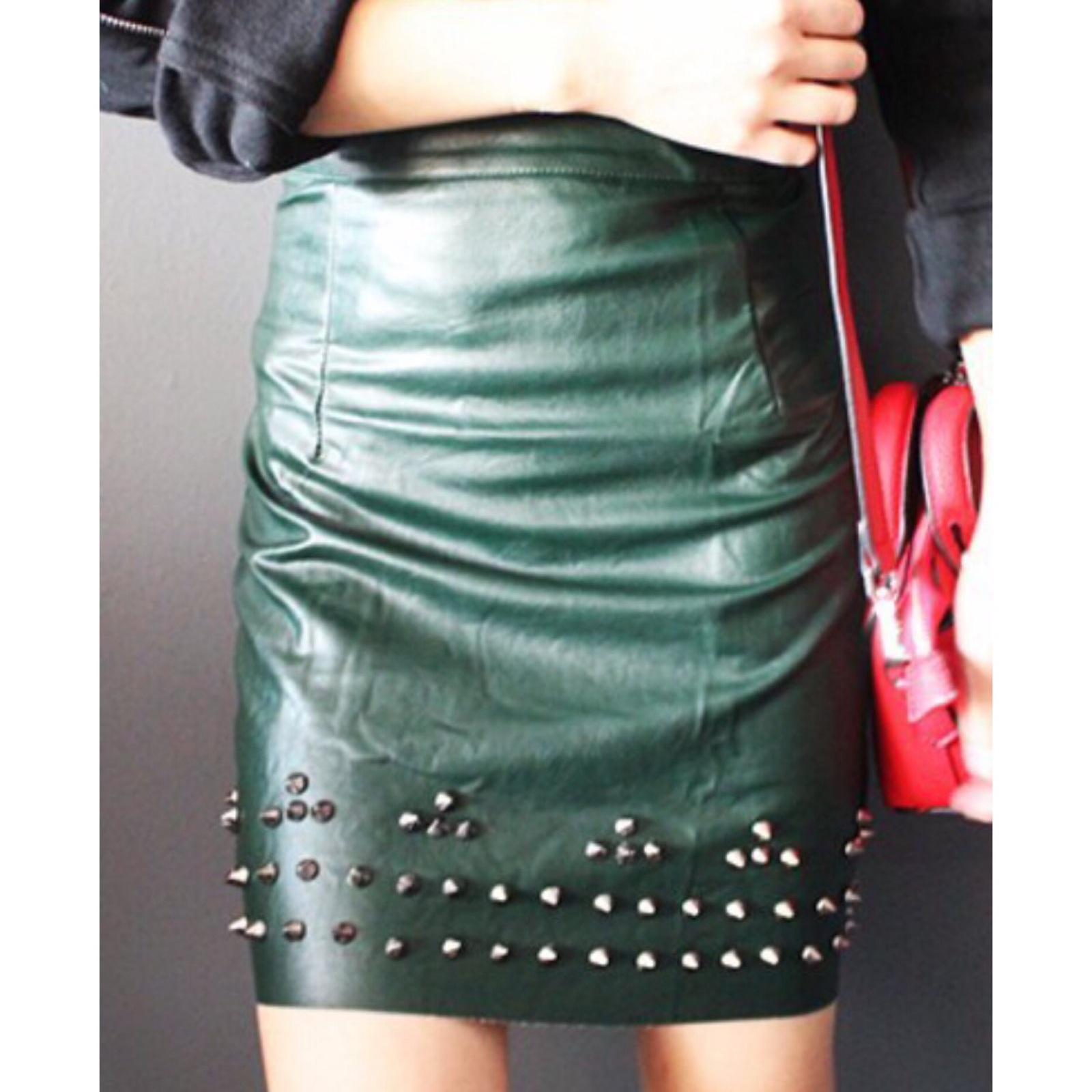Waisted studded pu leather skirt