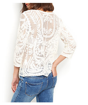 Blue Vanilla Cream Embroidered Mesh 3/4 Sleeve Top