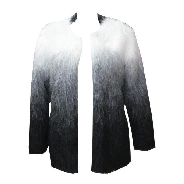 Manteau fausse fourrure effet dégradé noir