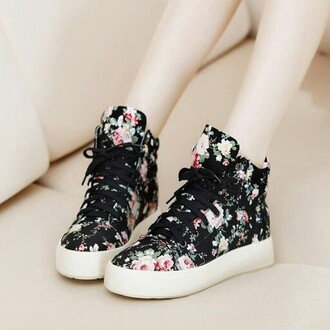 shoes high top sneakers floral shoes floral sneakers