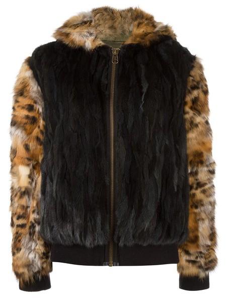 Mr & Mrs Italy coat short fur fox women cotton black wool
