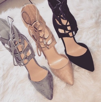 shoes heels black heels sandals style fashion lace up nude pumps