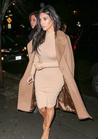 dress nude dress turtleneck dress kim kardashian dress