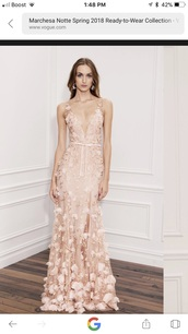 dress,marchesa notte blush