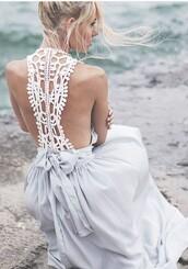 dress,crochet,light blue,breezy,crochet dress,boho,boho dress