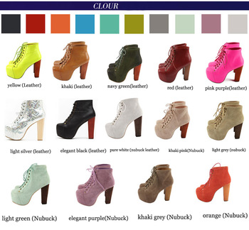 19 Colours !Jeffrey Campbell 100% Women's  Genuine Leather Lita Boots 2014  Fashion High Heel Platform Pumps shoes big plus size-inBoots from Shoes on Aliexpress.com