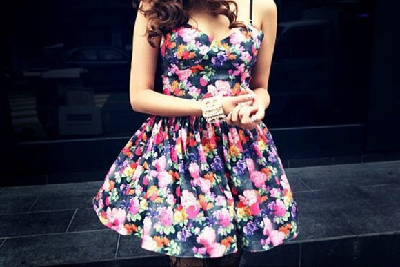 dress mini dress floral floral dress bustier dress colorful fowers little black dress black