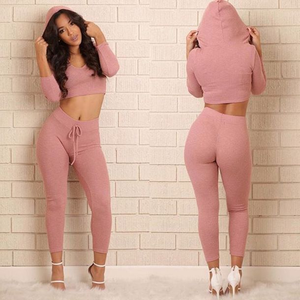 Sweater Hoodie Long Sleeves Fashion Style Trendy Pink Light