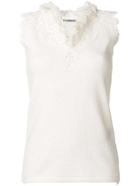 Ermanno Scervino - sleeveless lace embroidered top - women - Silk/Cashmere/Wool - 42, White, Silk/Cashmere/Wool