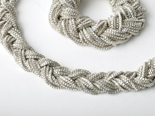 Nicole Miller Collection Silver Plated Braided Bracelet and Necklace Set Chunky   eBay