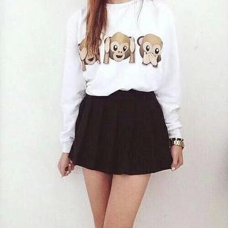 sweater emoji shirt emoji print sweatshirt white sweater monkey monkey emoji skirt