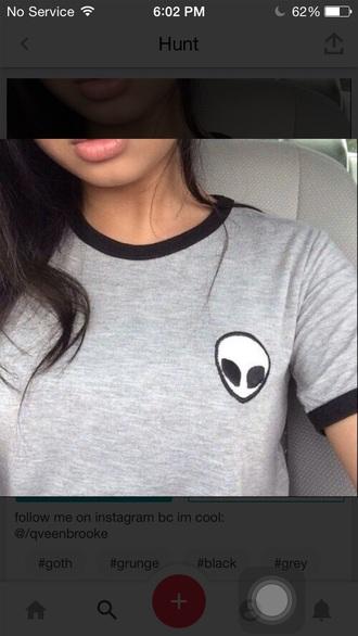 shirt grey alien alienshirt greyshirt crop tops tumblrshirt tees tee alientee ootd outfits outfit graphic tee