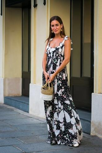 dress maxi dress floral dress printed dress bag basket bag spring outfits