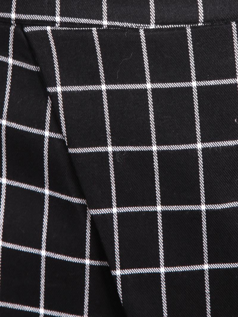 Black plaid wrap mini skirt