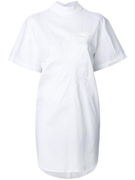 Ioana Ciolacu dress embroidered women spandex white cotton