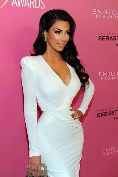 dress white dress kim kardashian