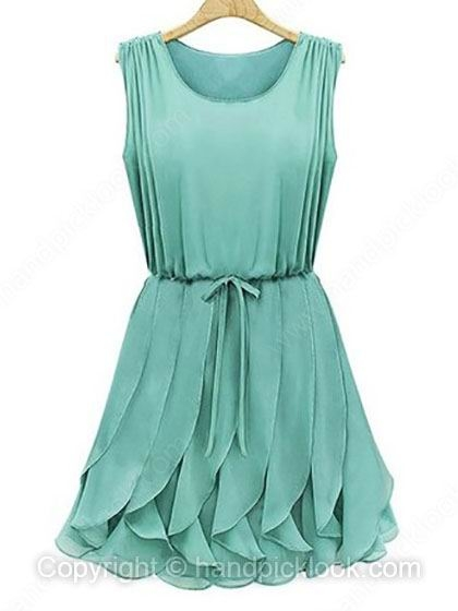 Green Round Neck Sleeveless Tiered Chiffon Dress - HandpickLook.com