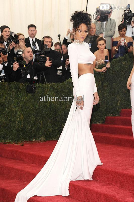 Buy 2014 met gala rihanna red carpet dress two piece sheer beaded high neck long sleeves backless exposed abdomen evening dresses white gowns, $78.59