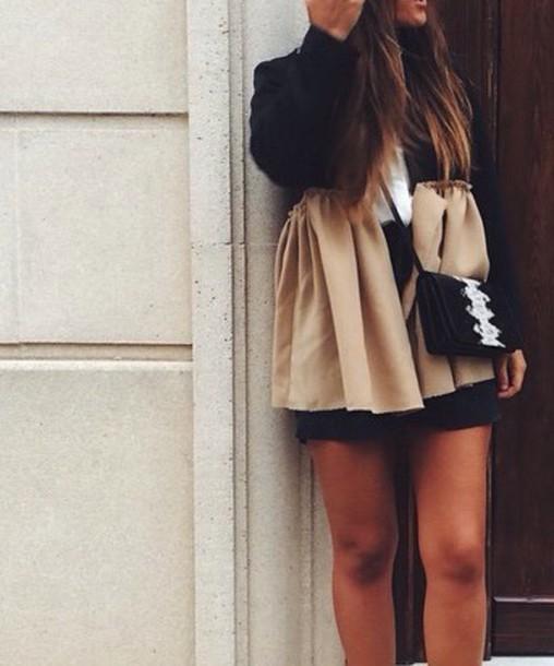 blouse black beige shirt