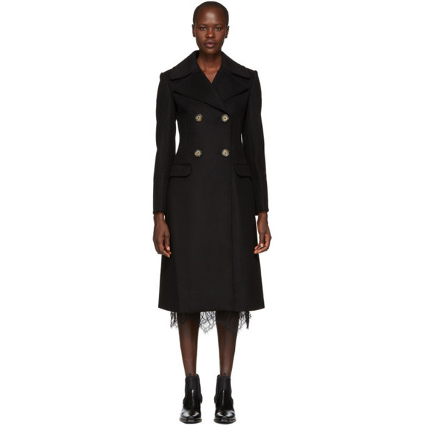 Helmut Lang Black Tailored Melton Coat