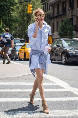 dress shirt dress blue dress short dress summer dress summer outfits high heel sandals sandals nude sandals bag yellow bag sunglasses mirrored sunglasses olivia palermo celebrity