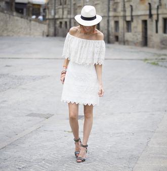 dress hat tumblr off the shoulder off the shoulder dress white dress lace dress white lace dress mini dress sandals mid heel sandals sun hat shoes