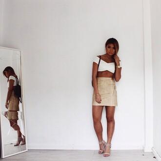 skirt maniere de voir snake embossed mini skirt nude