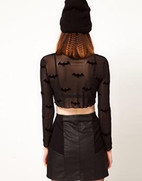 Lazy Oaf | Lazy Oaf x Batman Exclusive Sheer Crop Top In Bat Print at ASOS