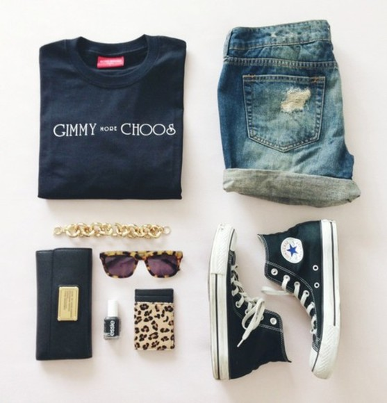 marc by marc jacobs shirt clothes fashion gimmy more choos gimmy choos summer fall converse shorts denim black wallet esssie gold chain ootd supreme black t-shirt sunglasses outfit of the day