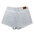 Four-Pocket Macrame Hem Denim Shorts