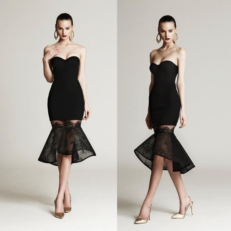 black evening cocktail dress with knee