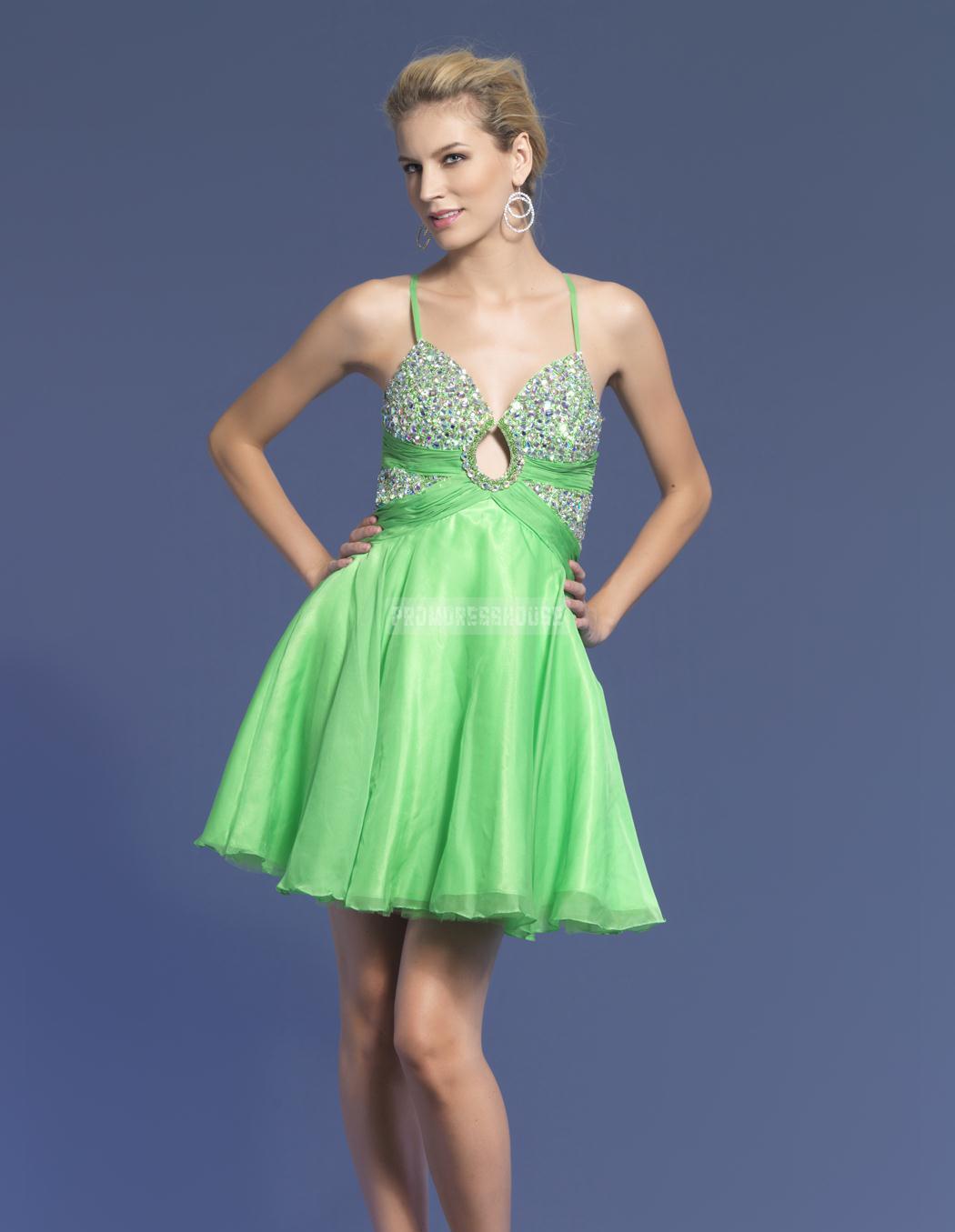 Organza Baby Doll Green Spaghetti Straps Beading Prom Dress - Promdresshouse.com